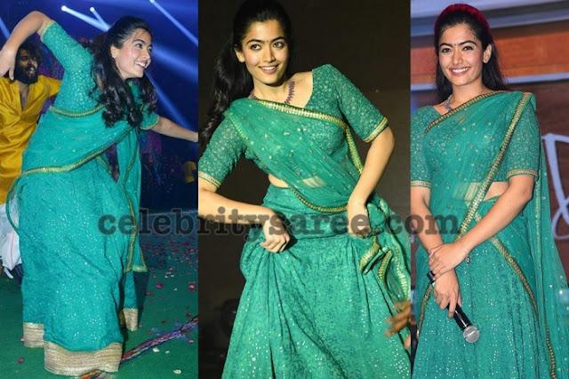 Rashmika Mandanna Shimmer Half Saree