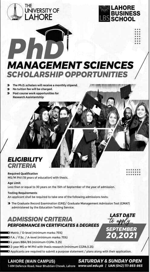 The University of Lahore  UOL Scholarship for Ph.D Program