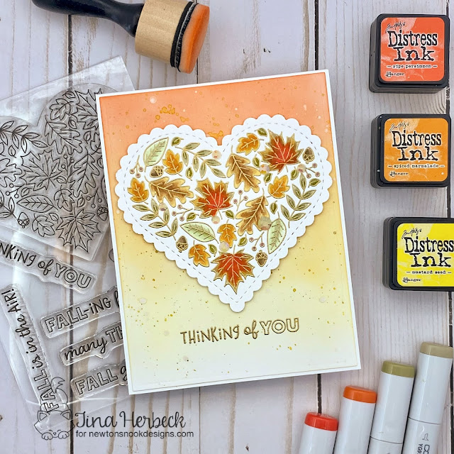 Thinking of You Fall Card by Tina Herbeck | Heartfelt Fall Stamp Set and Banner Trio Die Set by Newton's Nook Designs #newtonsnook