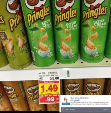 photograph about Pringles Printable Coupons titled A Personal savings Diva: Pringles $0.49 at Kroger! BOGO Pringles