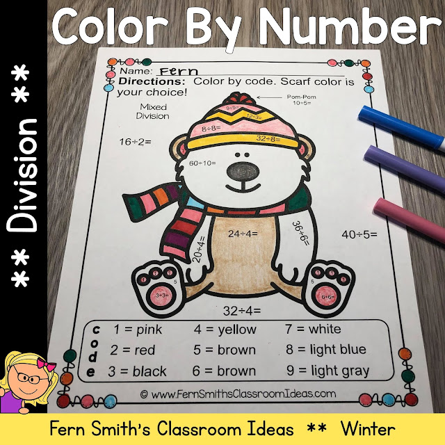 """Are You Ready for Some New Winter Division Color By Numbers for Your Class? Then You Will Love These Cute Animals """"Dressed For Winter"""" to Add Some Joy To Your Winter!"""