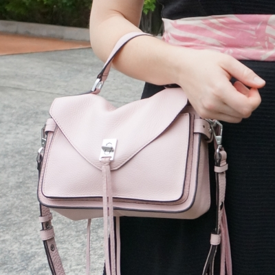 black dress, Rebecca Minkoff small Darren messenger bag in peony | away from the blue