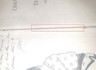 Image of micro code written into join of Boxall Rubaiyat