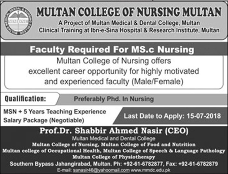 MSC Nursing Faculty July 2018 in Multan under Multan college of nursing