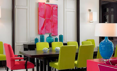 Dining room chairs with different pop colors idea