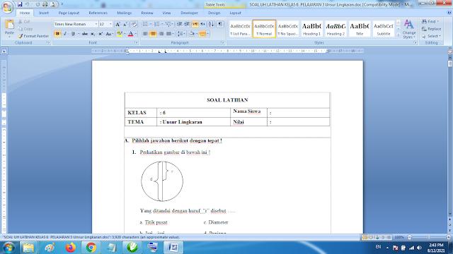 Soal Matematika Kelas 6 Unsur Lingkaran dan Kunci Jawaban K13