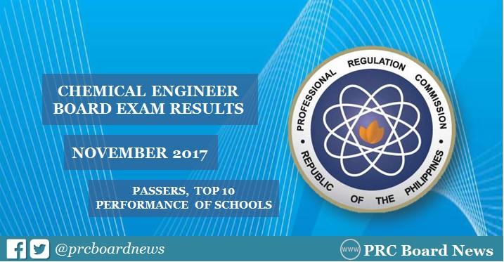 November 2017 Chemical Engineer ChemEng board exam results