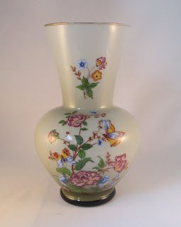 Flowers and Butterflies Blown Cased Glass Vase