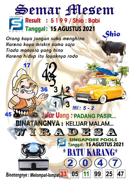 Syair Semar Mesem SGP Minggu 15-Agt-2021