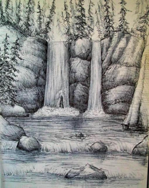 Sketsa pemandangan air terjun