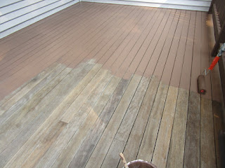 Half way through painting a deck.
