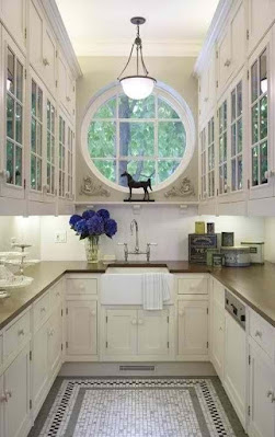 Narrow traditional kitchen ideas with six panel glass door cabinets