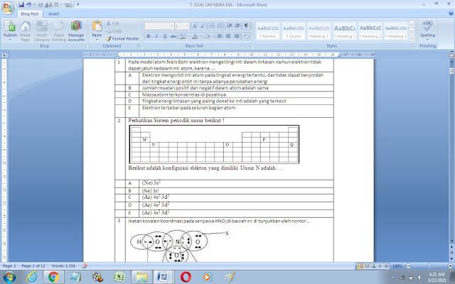 Contoh Soal Ujian Madrasah (UM) Kimia MA