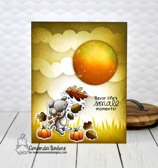 Fall Mouse Card by Amanda Bodine | Autumn Mice Stamp Set and Hills & Grass and Clouds Stencils by Newton's Nook Designs #newtonsnook #handmade
