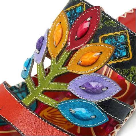women shoe handmade soft sandals Genuine Leather hook loop