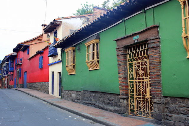 Colorful streets in La Candelaria, Bogota, Colombia