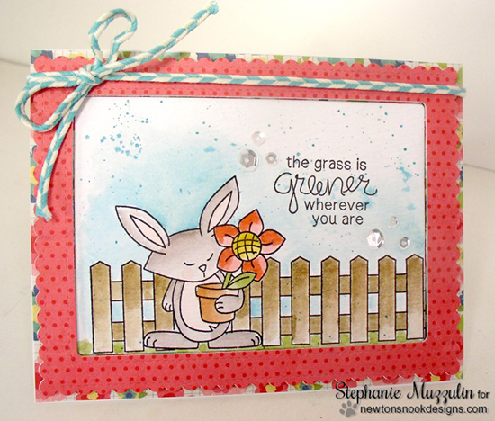 Spring Bunny Card by Stephanie Muzzulin | Garden Whimsy Stamp Set by Newton's Nook Designs #newtonsnook #bunny