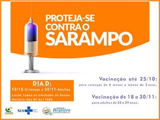 Campanha nacional de vacinação contra Sarampo acontece em duas etapas