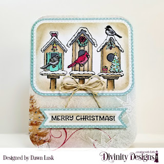 Christmas Birdhouses, Custom Dies: Rounded Rectangles, Double Stitched Rounded Rectangles, Double Stitched Pennant Flags, Pennant Flags, Paper: Christmas Collection 2014