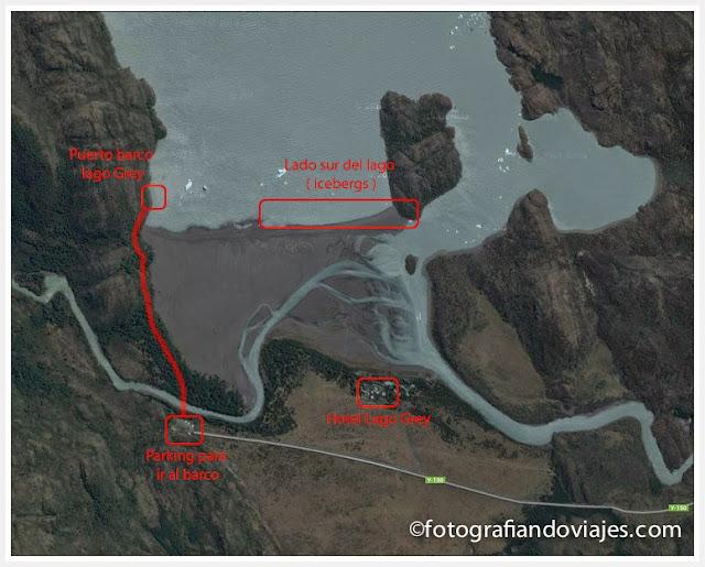 mapa de Salida barco Glaciar Grey
