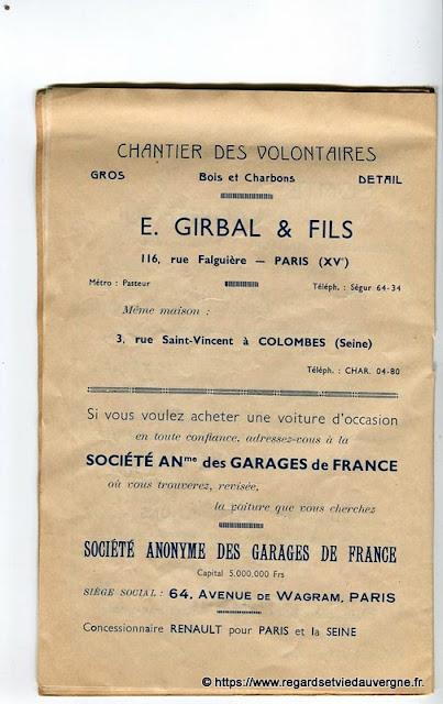 La Bourrée du Massif Central, programme 1938, E. Girbal bois charbons, Garage de France, Paris