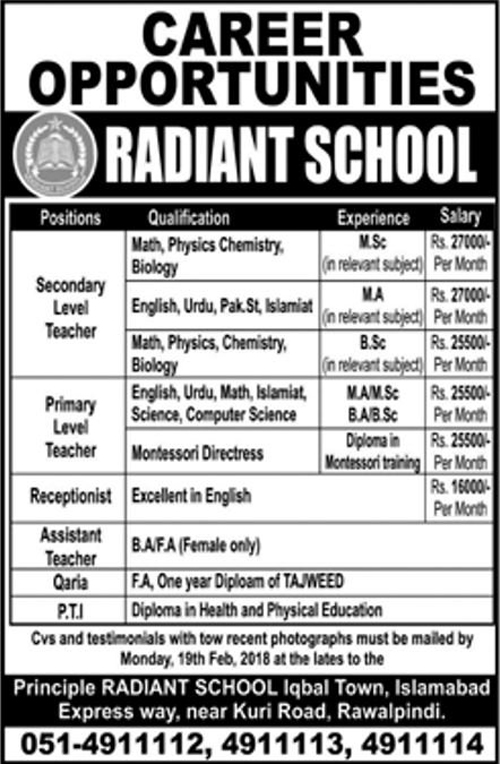 Radiant School Islamabad Jobs Feb 2018