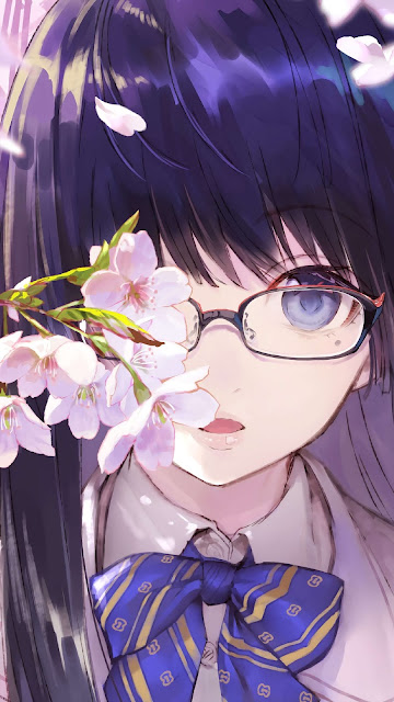 Cool Anime Girl With Glasses Wallpaper
