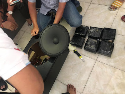 Photos: Nigerian Footballer, 2 Women Smuggled Drugs In A Speaker And Got Arrested In Cambodia