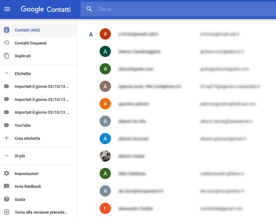 Gestione di contatti Google