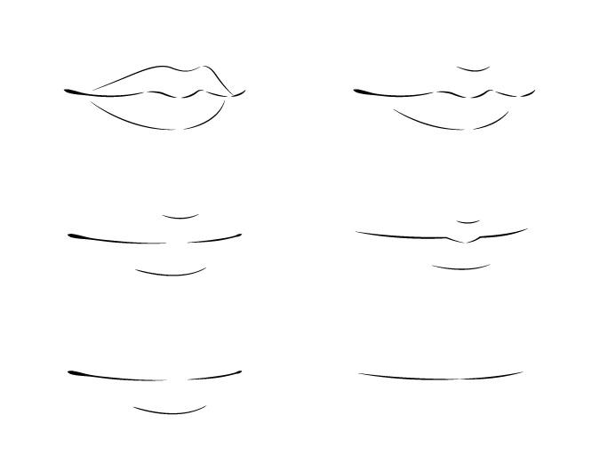 Menggambar bibir anime 3/4 lihat contoh