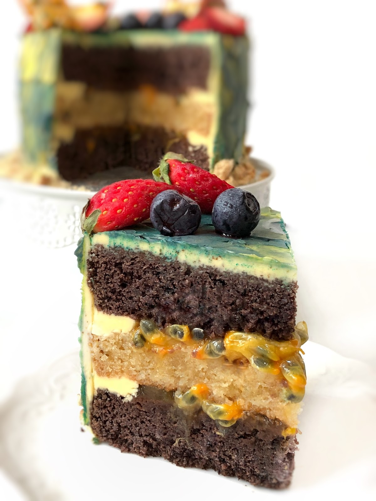 summer chocolate cake with passionfruit filling