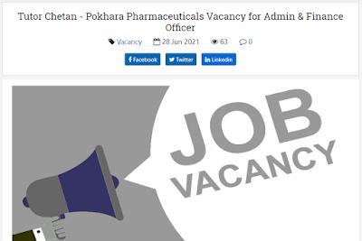 Tutor Chetan - Pokhara Pharmaceuticals Vacancy for Admin & Finance Officer
