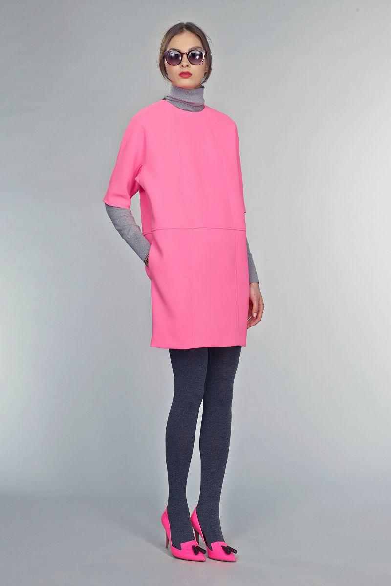 banana republic fall 2015 ootd outfit pink dress and pink tassel pumps