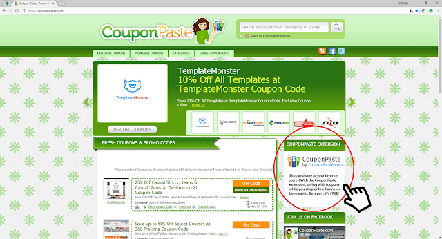 CouponPaste homepage and Extension advertisement box