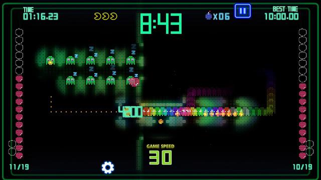 Screenshot of ghosts following Pac-Man