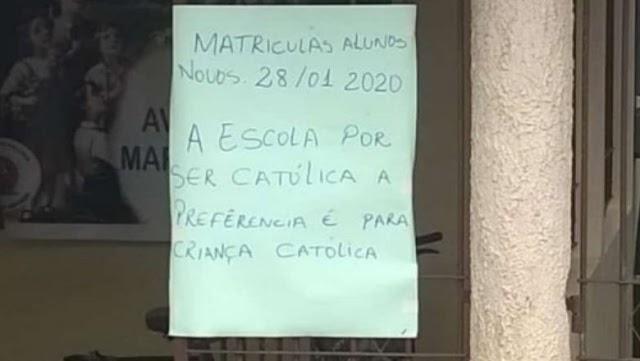 """Escola no Pará diz ter """"preferencia por criança católica"""" e vira alvo de crítica"""