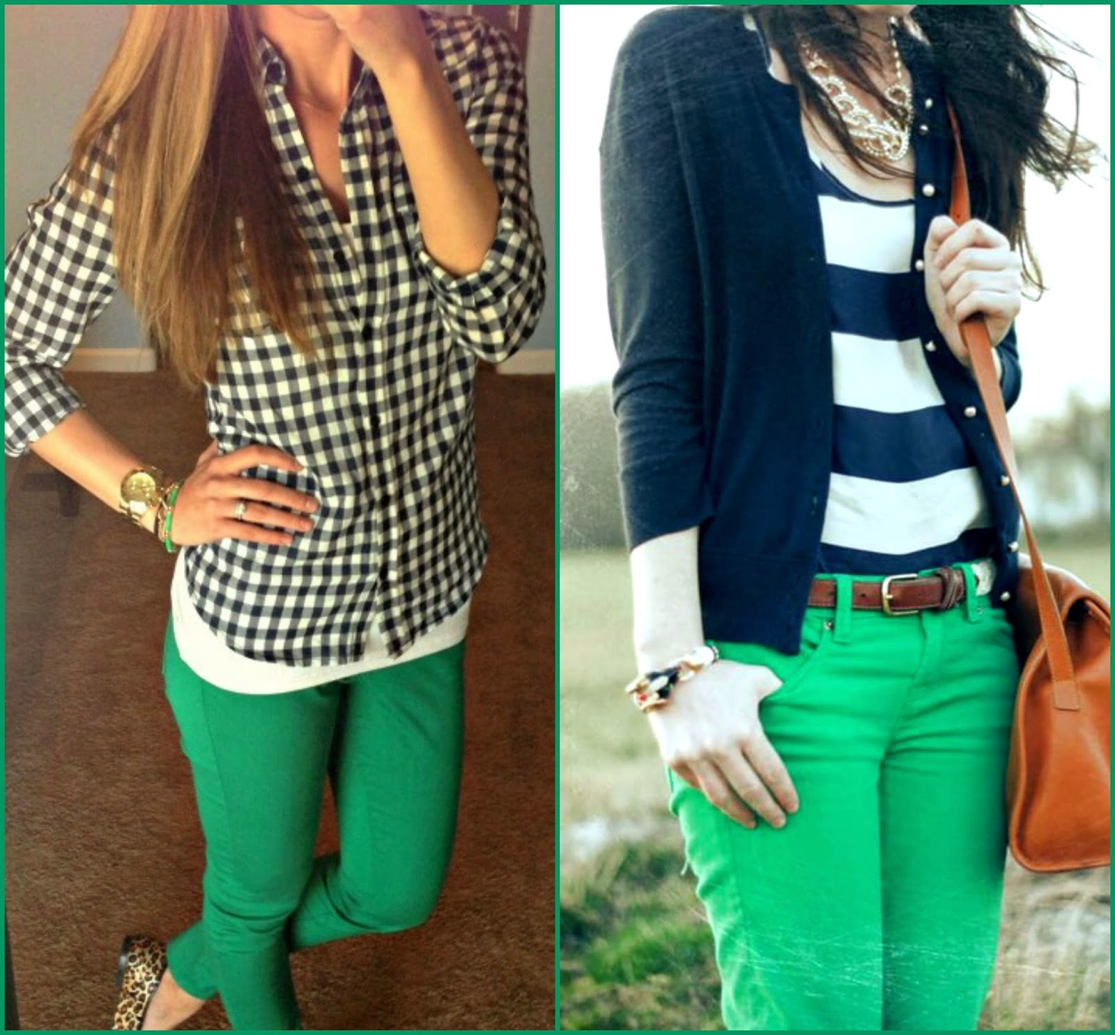 prints with green pants, how to wear green pants, prints styled with green pants