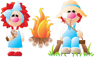 Clipart Image of Two Country Folk Characters at a Campfire