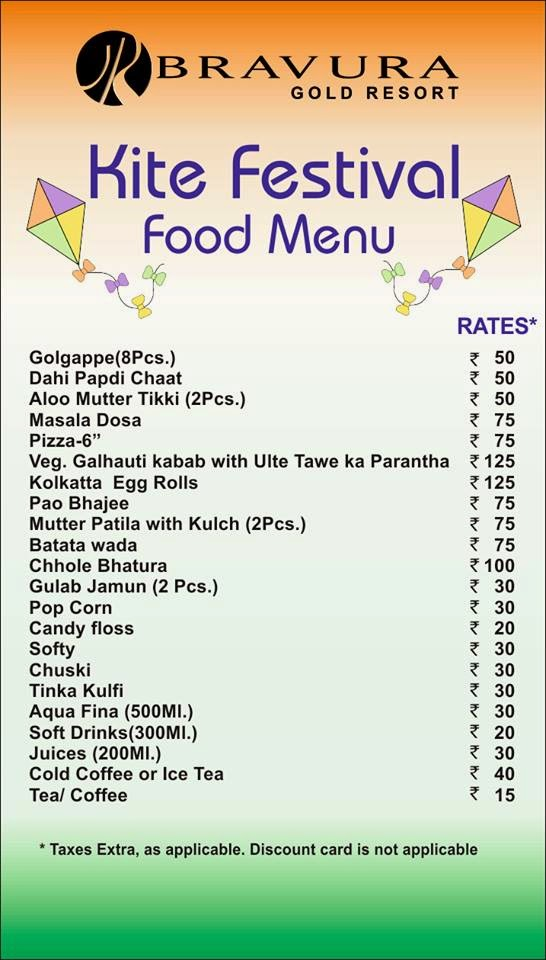 Enjoy Kite Festival Food Menu