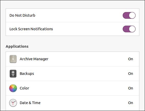 إعداد إشعارات شاشة قفل Ubuntu 20.04
