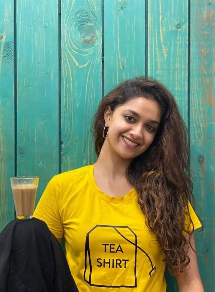 Keerthy Suresh in Yellow and Black with Tea for Miss India Promotions 2