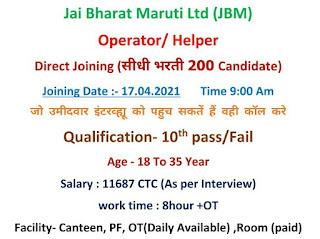 Direct Recruitment 10th Pass/Fail Job Opportunity For Operator and Helper Jai Bharat Maruti Ltd Sanand,  Gujarat