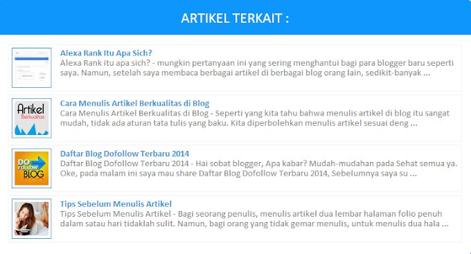 Cara membuat artikel terkait di blogger
