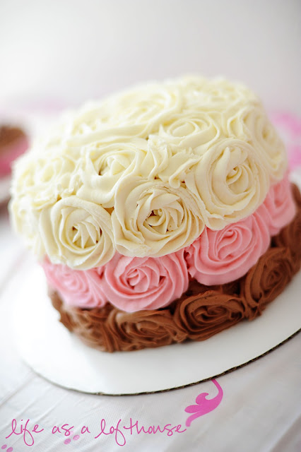 Neapolitan Cake has layers of chocolate, strawberry and vanilla cake and is decorated with buttercream rosettes. Life-in-the-Lofthouse.com