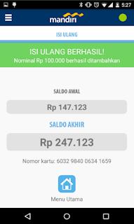 Cara top up via Aplikasi mandiri e-money isi ulang 7