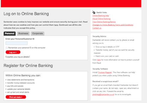 Santander Co Uk Personal Banking Log