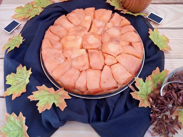 Tarta tatín de membrillo postre otoño dulce sencillo fácil fruta cuca canela con horno caramelo
