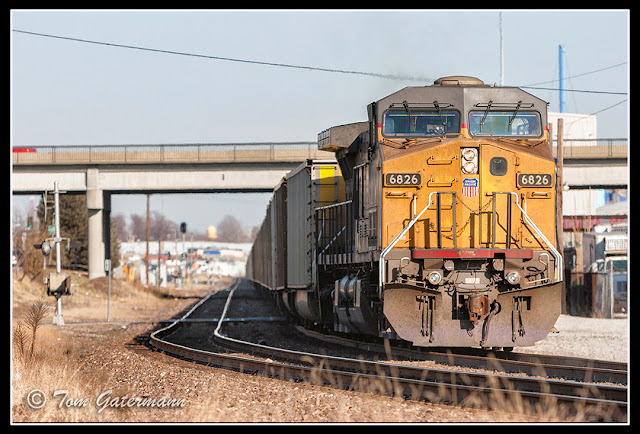 UP 6826 is the DPU on a coal train at Knox Avenue on the Jefferson City Subdivision.