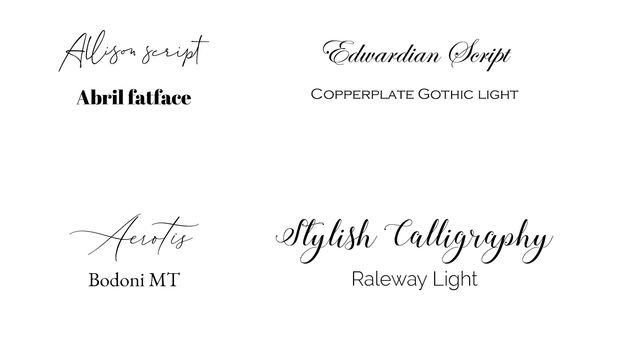 Erilaistia typografiapareja