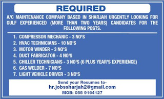 Urgently Required Staff For A/C Maintenance Company Based in Sharjah (UAE)